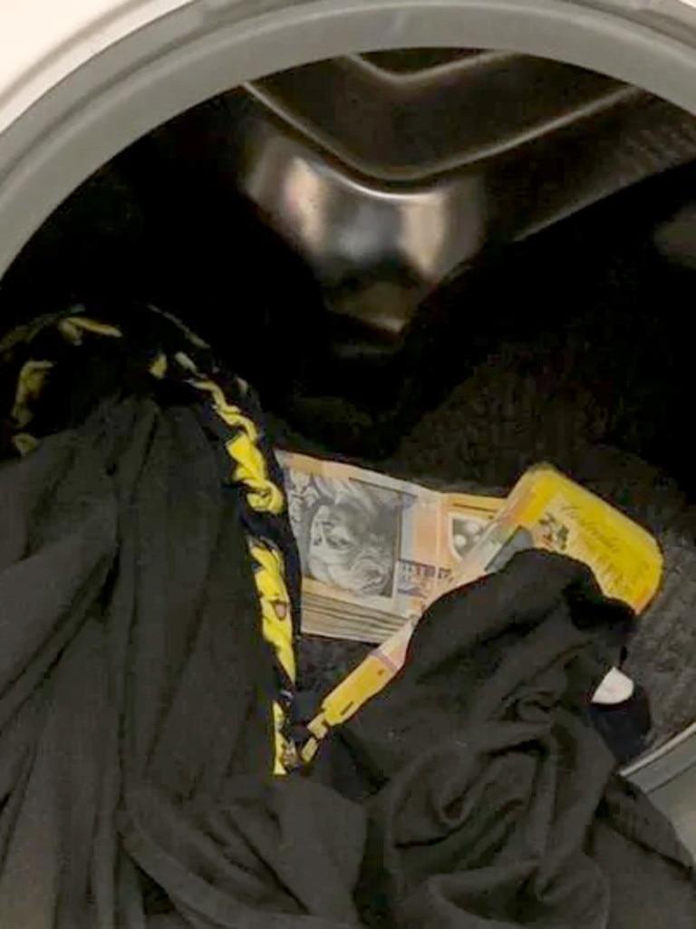 Cash found in the washing machine.