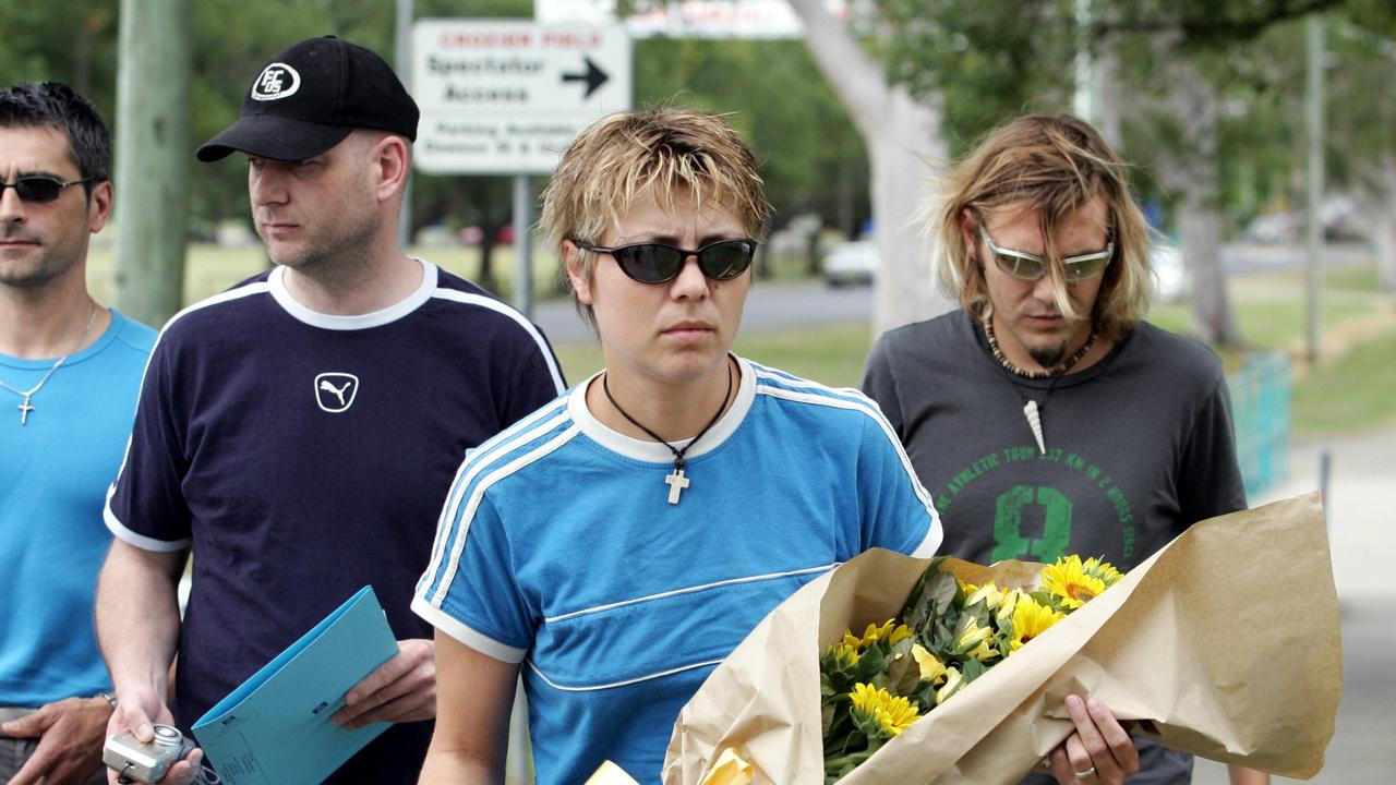Hermann Zeissner (uncle), Uwe Klein (brother-in-law), Katrin and Tobias Suckfuell visiting the site of Simone Strobel's death in Lismore. Photo Jacklyn Wagner