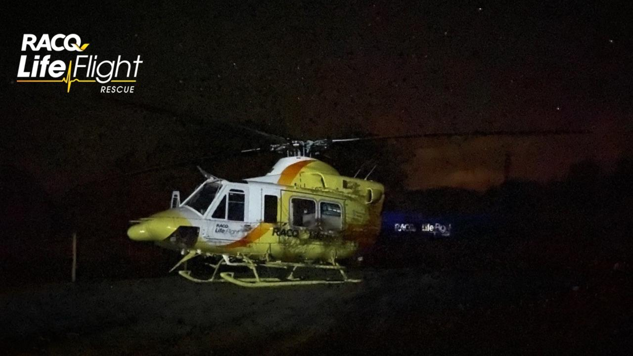 A toddler was flown to hospital after falling into a campfire in the Sunshine Coast's north on Saturday. Photo: RACQ LifeFlight Rescue