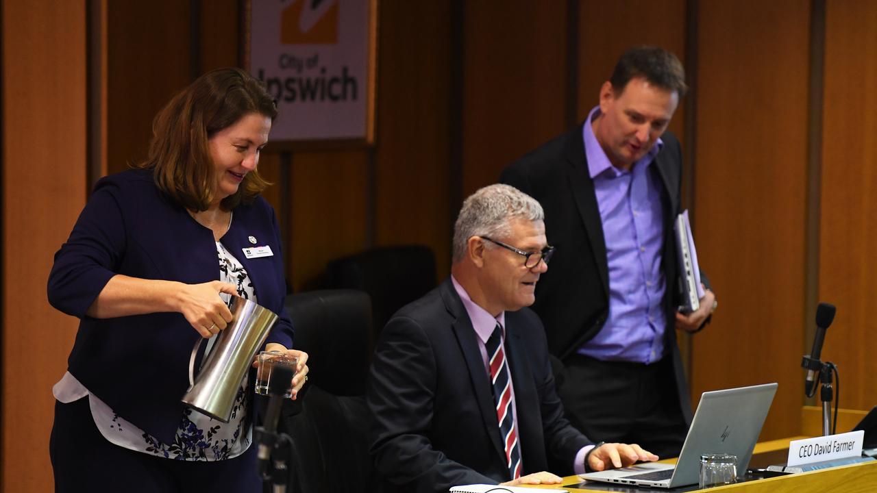 Ipswich City Council mayor Teresa Harding, CEO David Farmer and chief financial officer Jeffrey Keech.