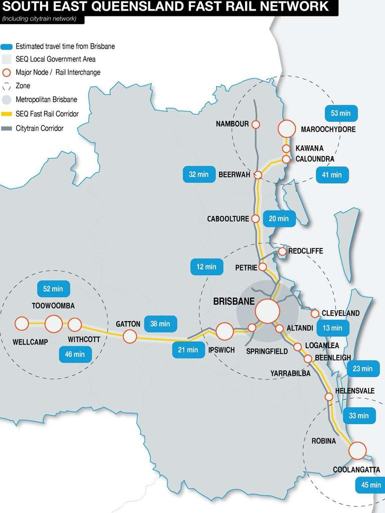 VISION: A map of a possible future fast rail network in the southeast, showing no fast rail corridor to Nambour.