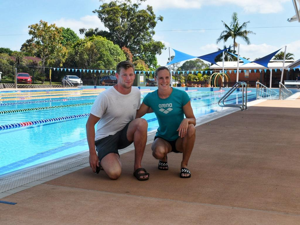 Bronte Campbell and Bradley Woodward at the Alstonville pools during their training camp.