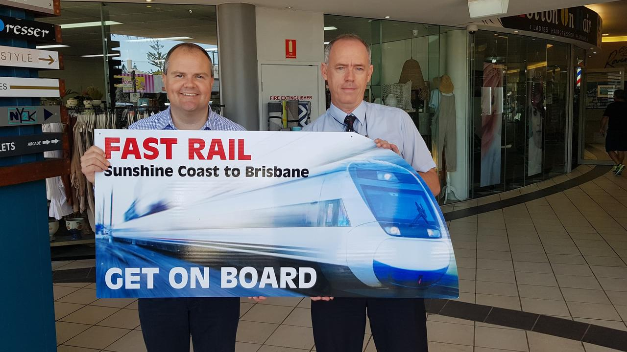 Fairfax MP Ted O'Brien and rail advocate Jeff Addison at the time of the North Coast Connect push taking off.