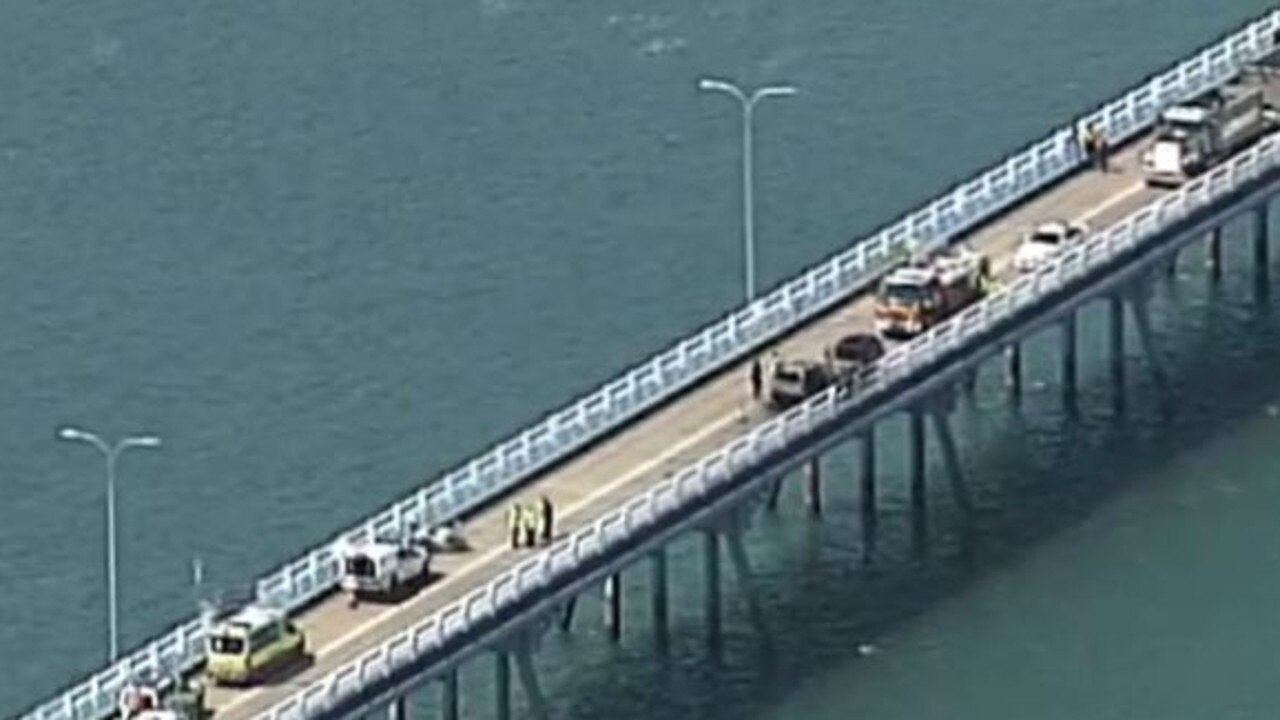 Bribie Island Bridge was closed in both directions. Picture: 7 News