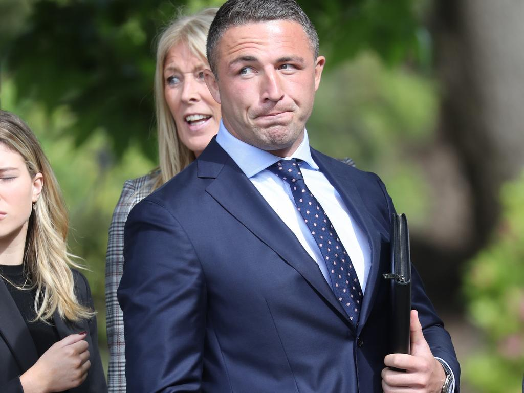 Sam Burgess outside Moss Vale Court on the first day of the hearing. Picture: John Grainger