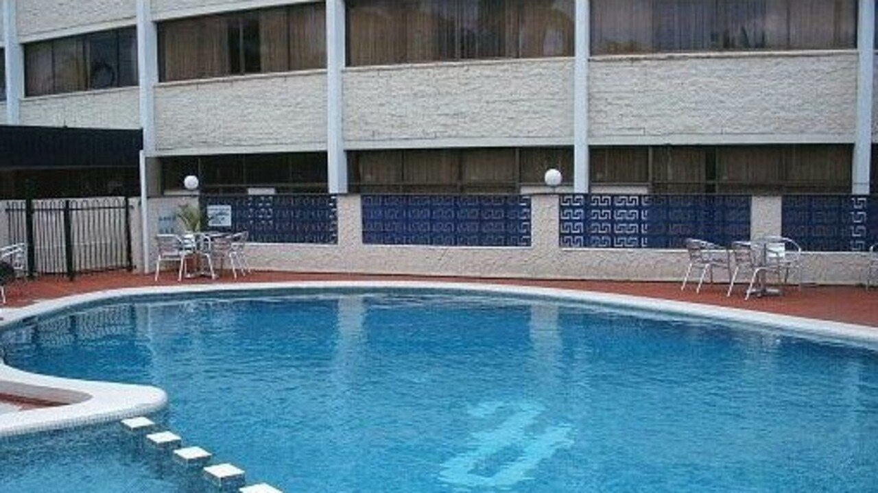 PLAZA EXTERIOR: When it was open, this is how the pool for the Plaza Hotel appeared.
