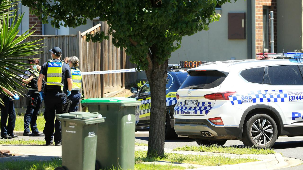 Police at the scene of the suspected homicide on Umbria Rd, Mernda. Picture: Mark Stewart
