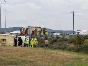 BREAKING: Man airlifted to hospital as truck rolls off Hwy