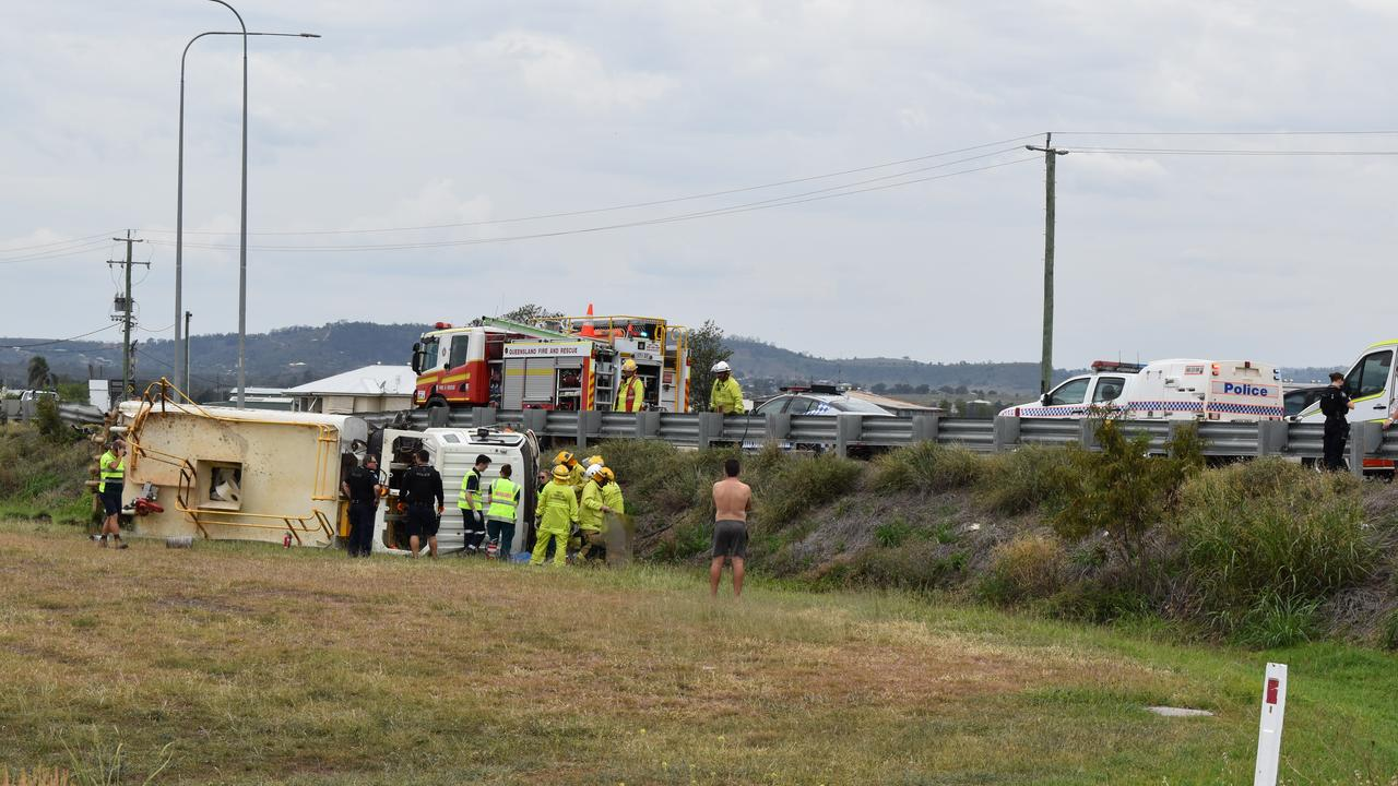 A truck has rolled on the Warrego Hwy at Crowley Vale. Photo: Hugh Suffell
