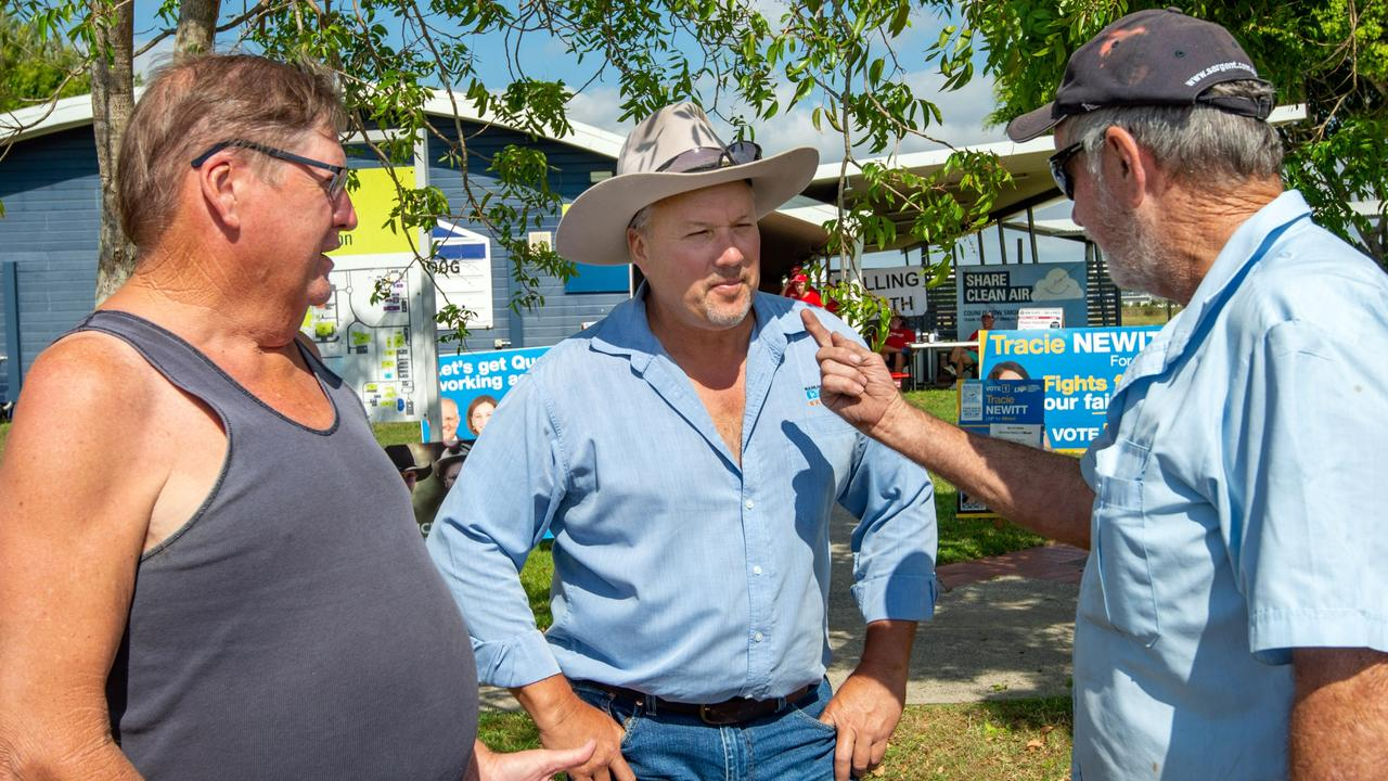 Member for Mirani, Stephen Andrew with voters Peter McNeill and Alan Crowley at CQ University Polling Booth. Picture: Daryl Wright