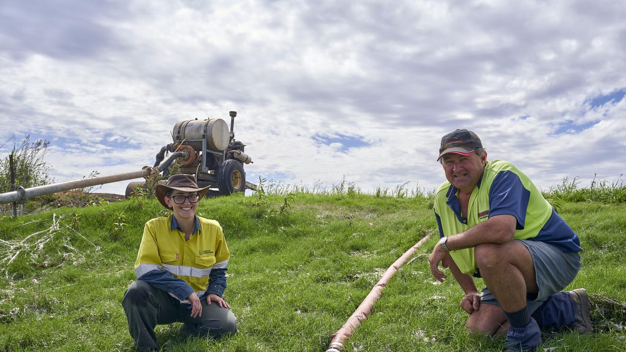Urban Utilities project manager Karina Dervidis and farm manager Greg Hauser. Photo: Supplied.