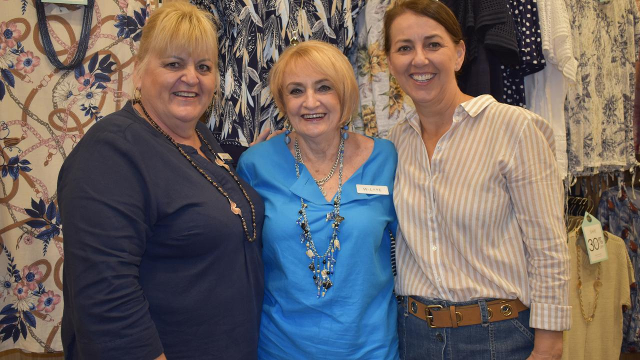 Noni B's Gayle Bonnett, W.Lane's Thelma Downs – who celebrated 40 years with the company today, and Rockman's Donna Steele. Picture: Heidi Petith