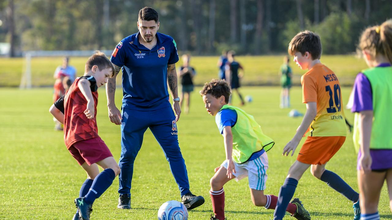 Jets star Dimi Petratos works with some Coffs Harbour prospects during a clinic in 2019 at the Coffs Coast Sport and Leisure Park.
