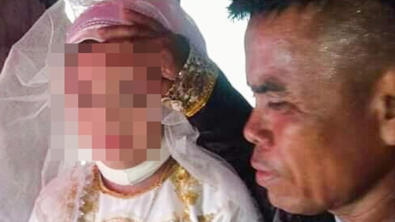 Supplied  Man with four wives marries girl, 13, in ceremony in the Philippines.  Picture: Viral Press/australscope