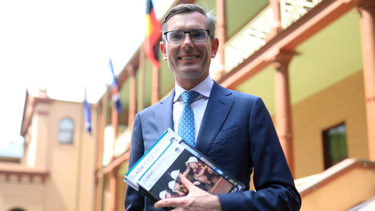 NSW Treasurer Dominic Perrottet preparing to deliver the 2020-21 state Budget on Tuesday. Picture: NCA NewsWire / Christian Gilles