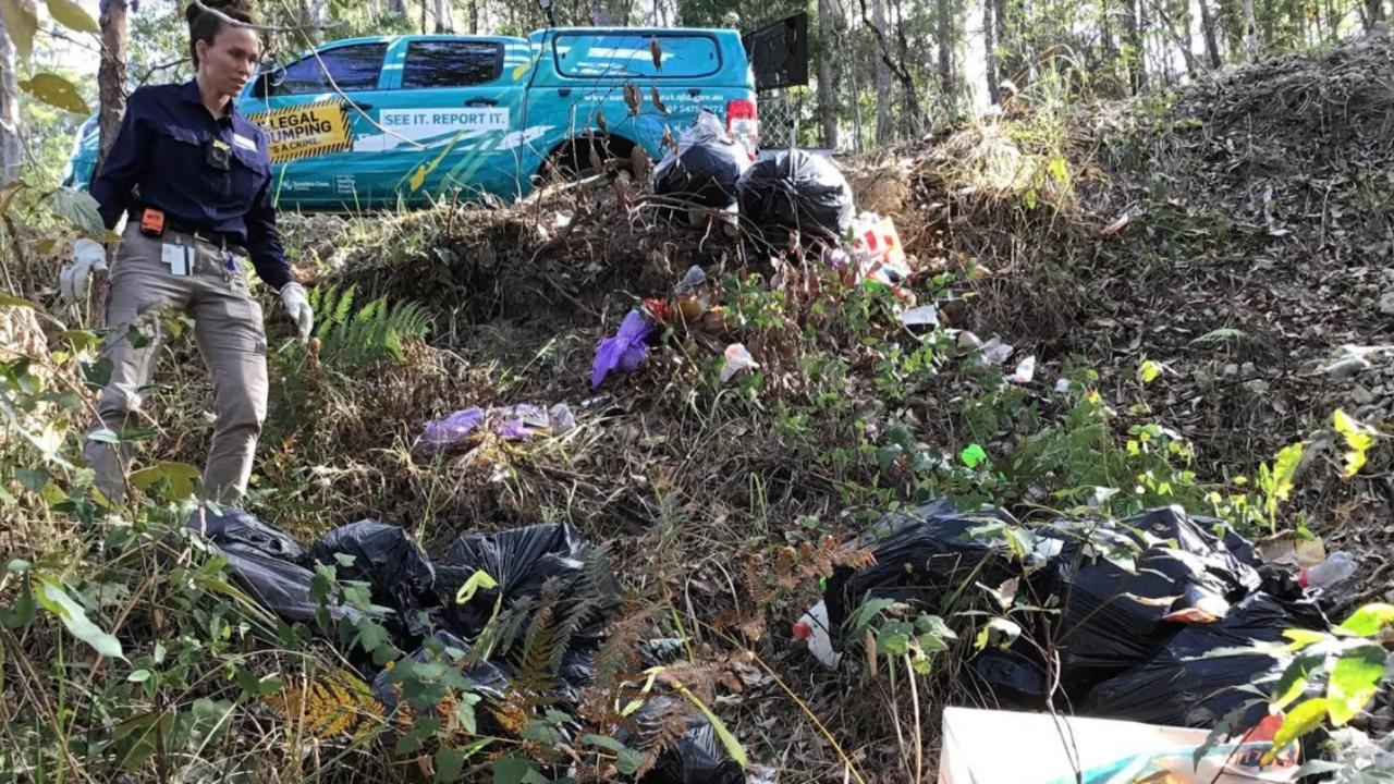 Sunshine Coast Council's illegal dumping officer April Forbes views the mess.