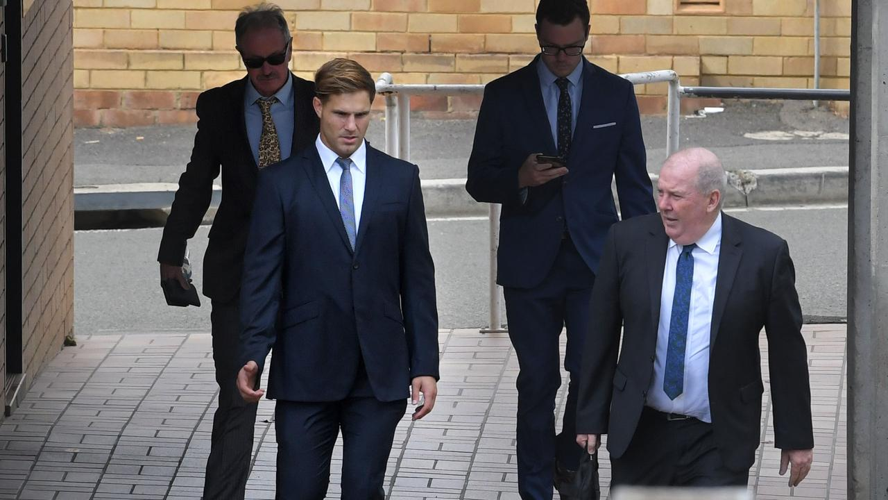 NRL player Jack De Belin at Wollongong Courthouse for the continuing rape trial. Picture: NCA NewsWire / Simon Bullard.
