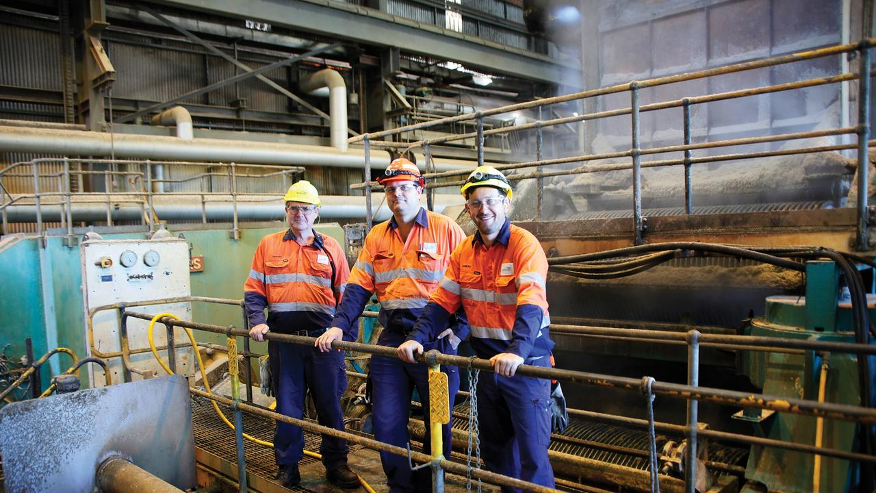 Proserpine Mill's production team senior technical assistant Tom Badger, production superintendent Damien Kelly and assistant production superintendent Jamie Bell, at the end of the 2020 crush. Picture: Wilmar