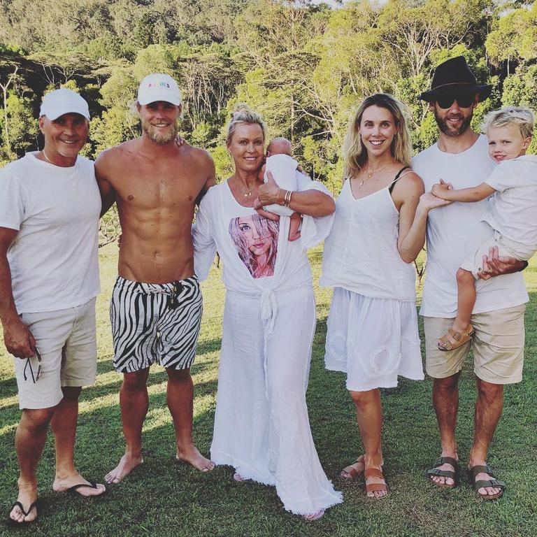 Lisa Curry shared a family photo in honour of her son Jett's 26th birthday with a touching tribute to her late daughter Jaimi Kenny, who died aged 33 from cancer. Picture: Instagram/LisaCurry