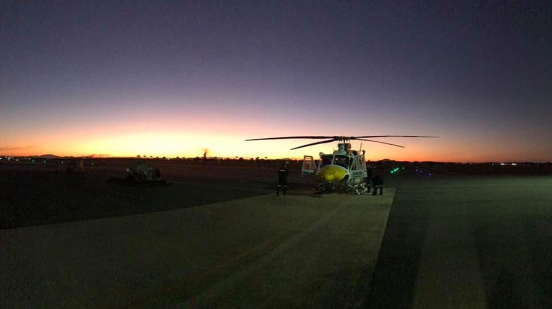 RACQ CQ Rescue flew a truck driver from Moranbah Hospital to Mackay Base Hospital in a serious but stable condition with serious leg injuries. Picture: RACQ CQ Rescue