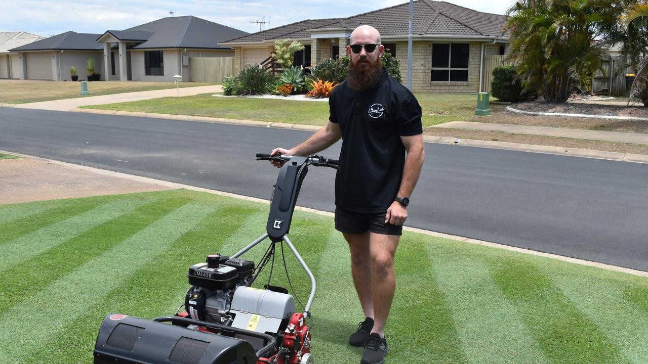 Lawn lover Travis Savage has turned his decade-long hobby into a successful business. Picture: Rhylea Millar