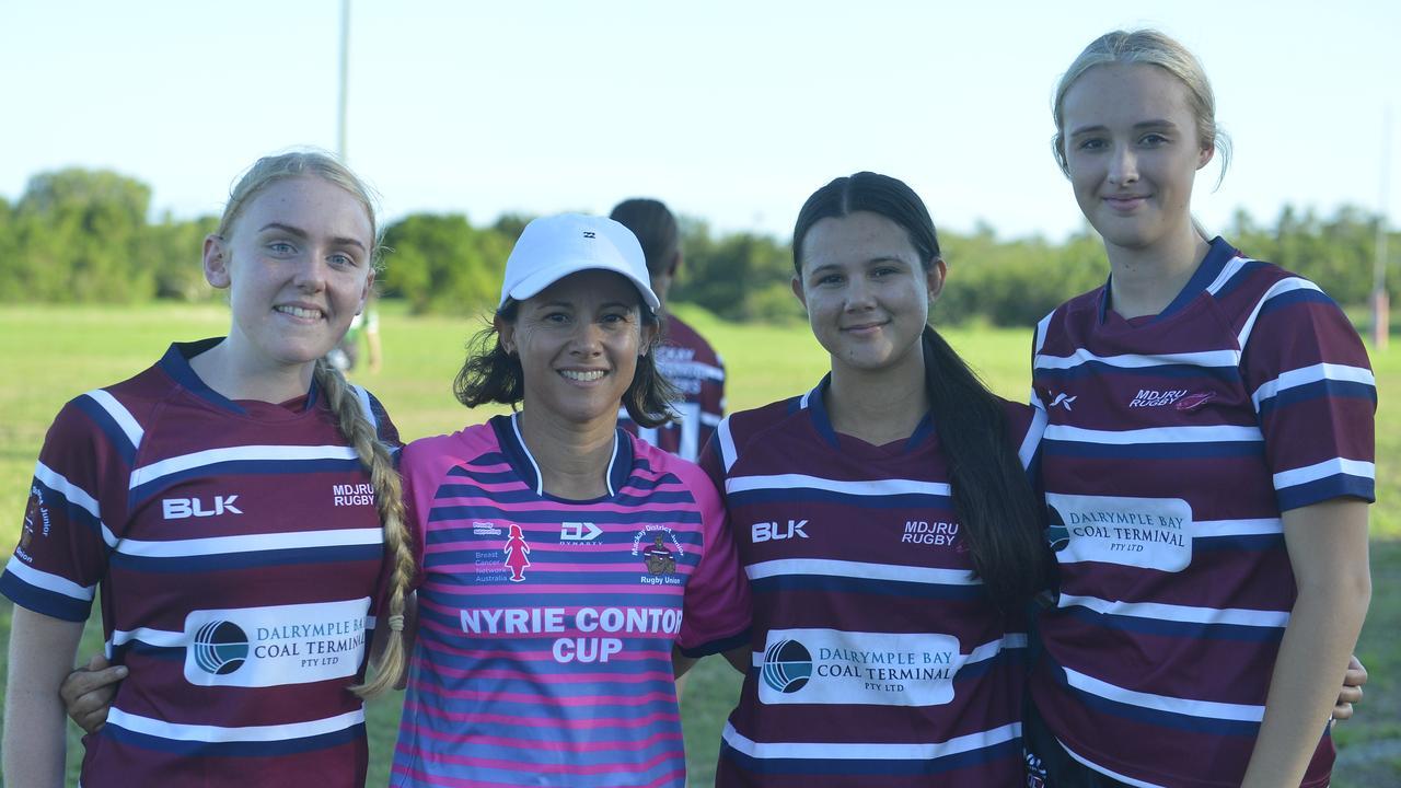 Cierra Lewer, Sheril Buchanan, Takiah Buchanan and Eve Doull at the Mackay Schools Rugby Cup.