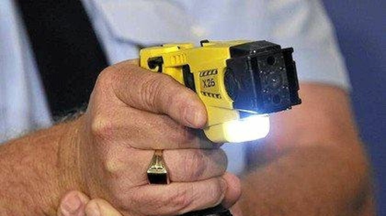 Police deployed a taser on a Gladstone man after he punched a security guard.