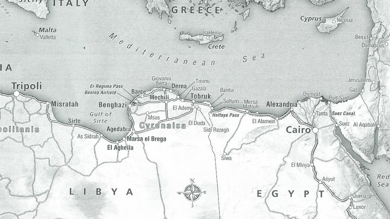 A map of Libya and Egypt featuring Tobruk, featured in Peter FitzSimons's book