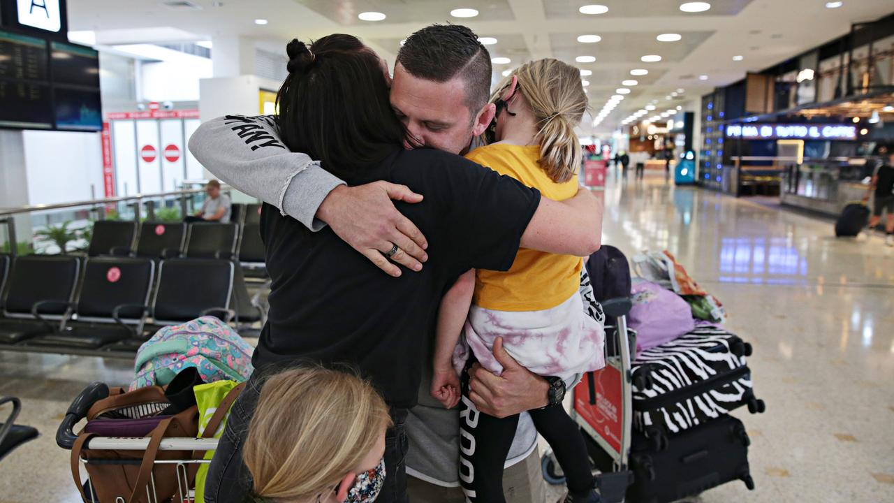 The first passengers arriving at Sydney International Airport from New Zealand on the 16th of October. Picture: Adam Yip