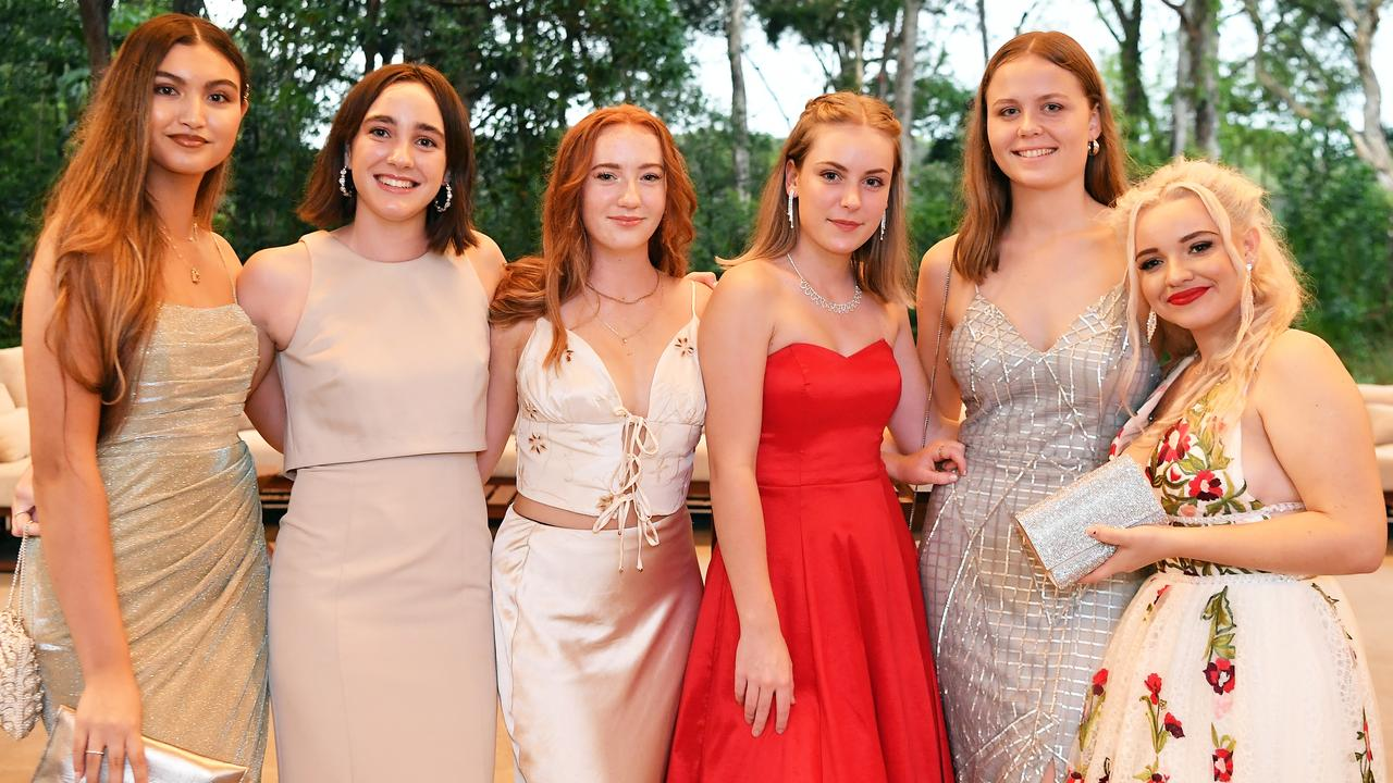 Jade Leggett, Eloise Deacon, Charlize Wallace, Charlize Carlson, Shahna A-K and Tamika Denman at Sunshine Beach State High School's Year 12 formal. Picture: Patrick Woods