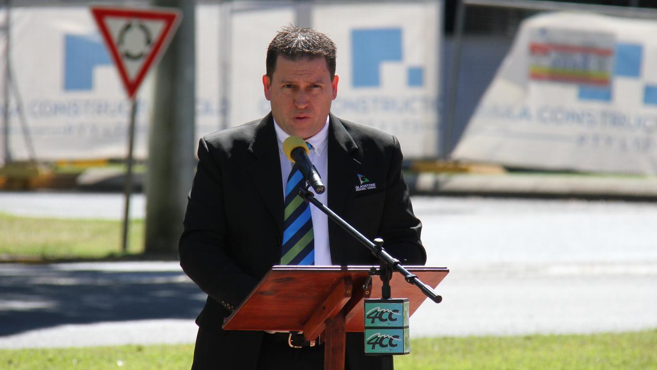 Gladstone Mayor Matt Burnett addresses the 54th Long Tan Day Commemorations at Anzac Park. Picture Rodney Stevens