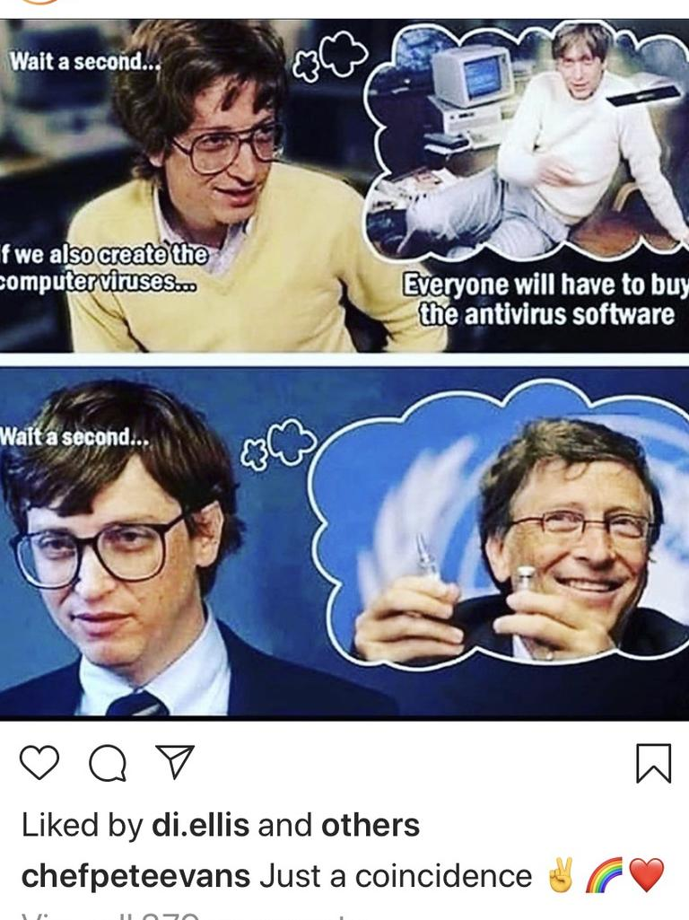Pete Evans' social media post promoting the idea Bill Gates is behind a bizarre COVID-19 vaccine plot. Picture: Instagram