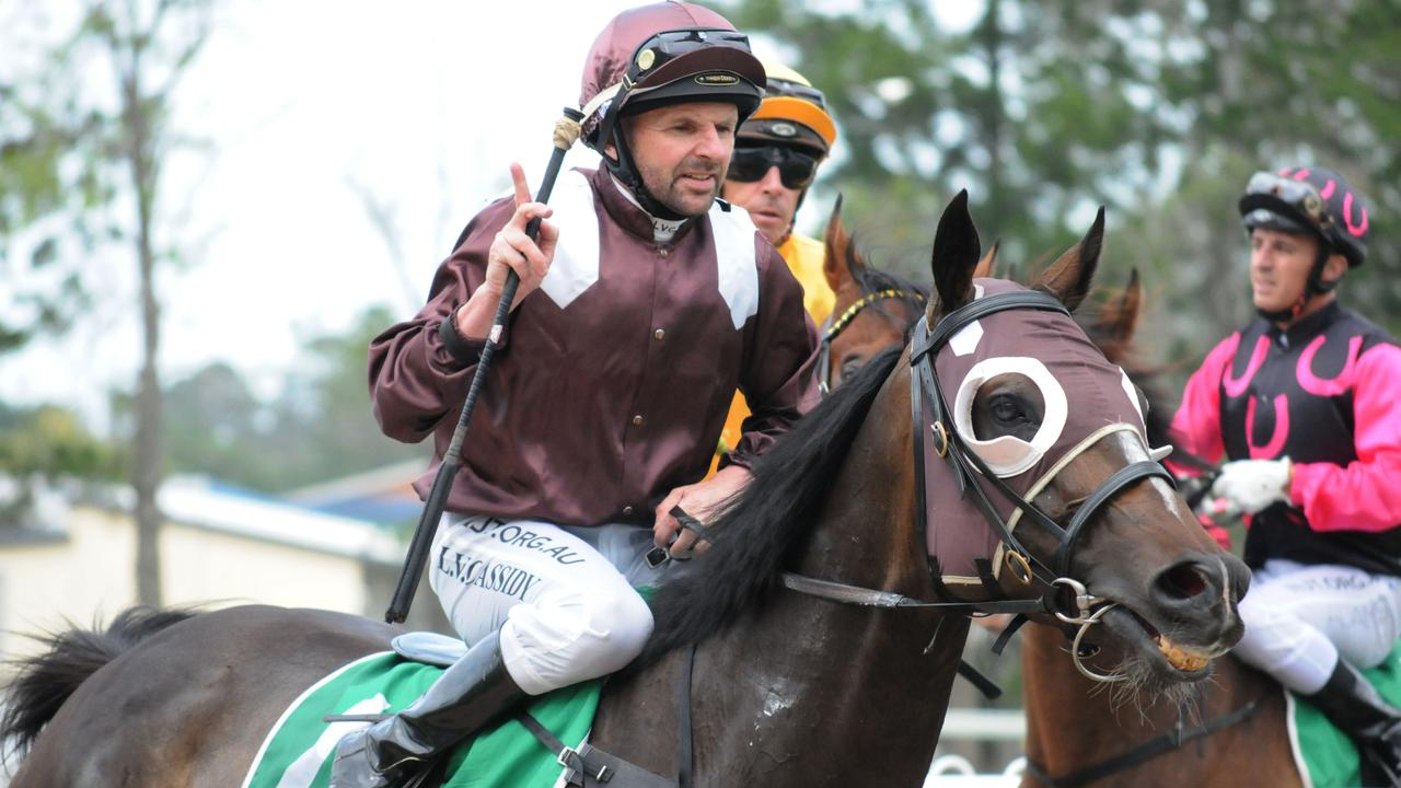 Ipswich race winner Superbowl Sunday, ridden by Larry Cassidy. Picture: Claire Power