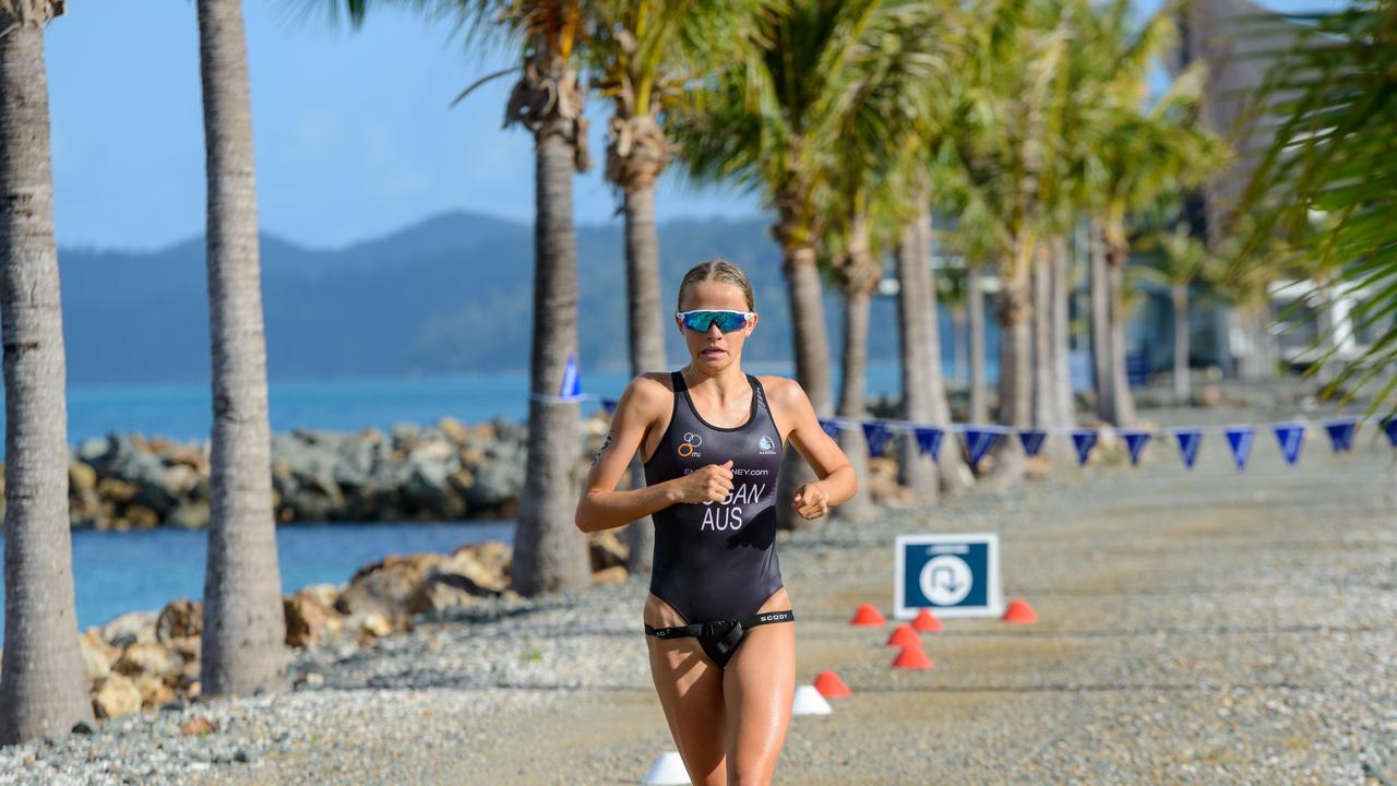 Triathlete Emma Hogan won the women's crown at the 2019 Hamilton Island Triathlon. Photo: Hamilton Island Photography