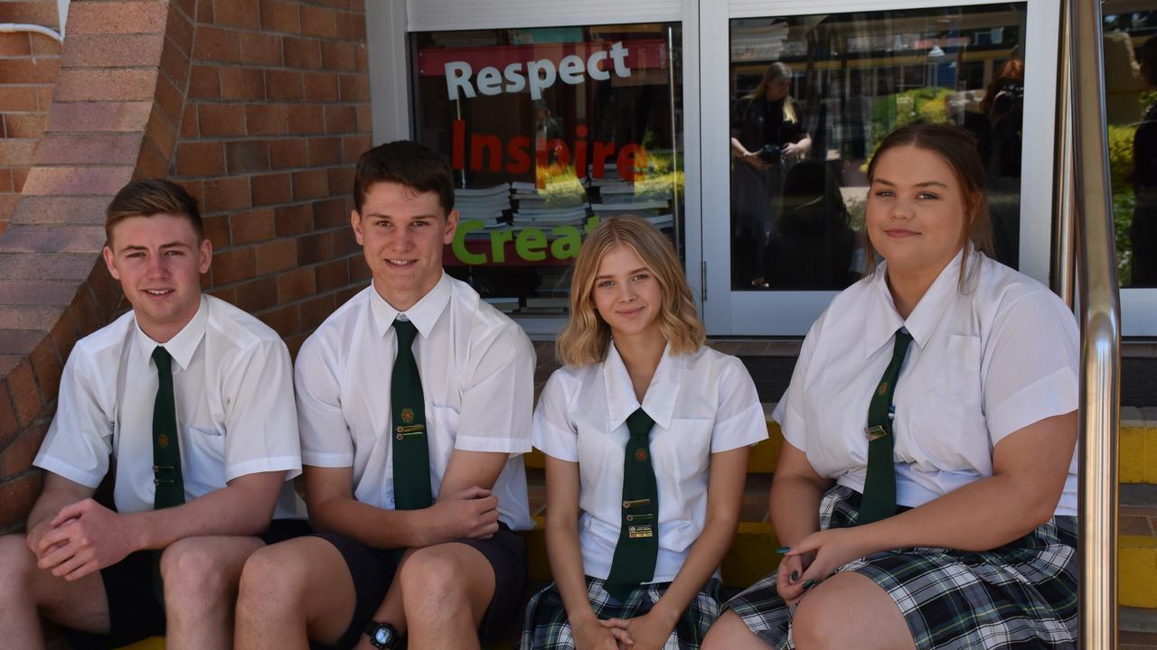 Assumption College school leaders Connor Murphy, Hayden Doherty, Tori Abood, and Lauren Mann.