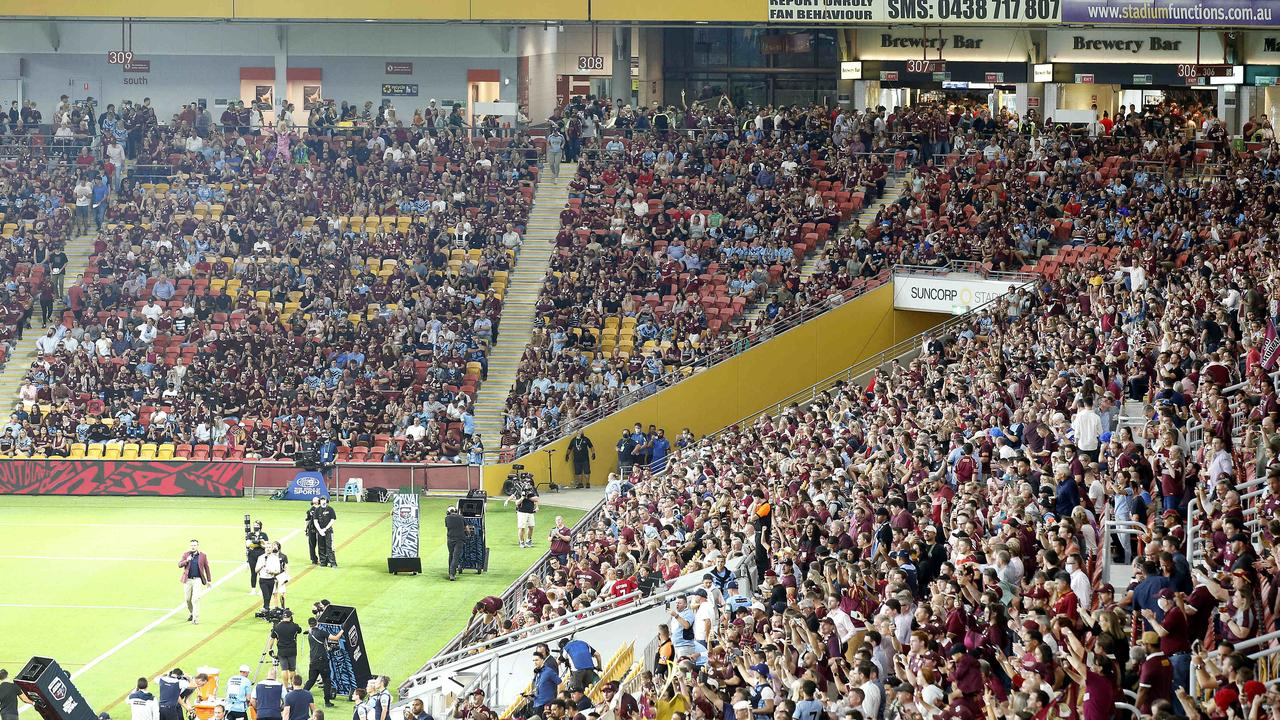 Nearly 50,000 people crammed into Suncorp Stadium to cheer on Queensland's State of Origin win. Picture: Josh Woning