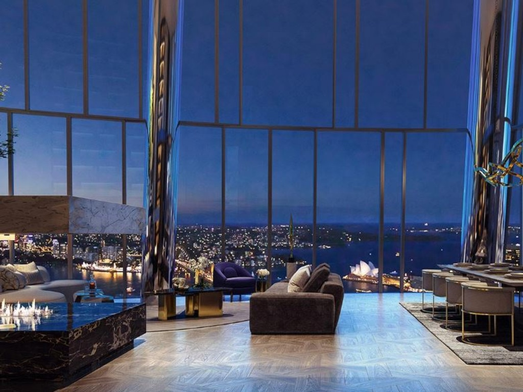 A rendering of a luxury Crown Residence with views of the Opera House.