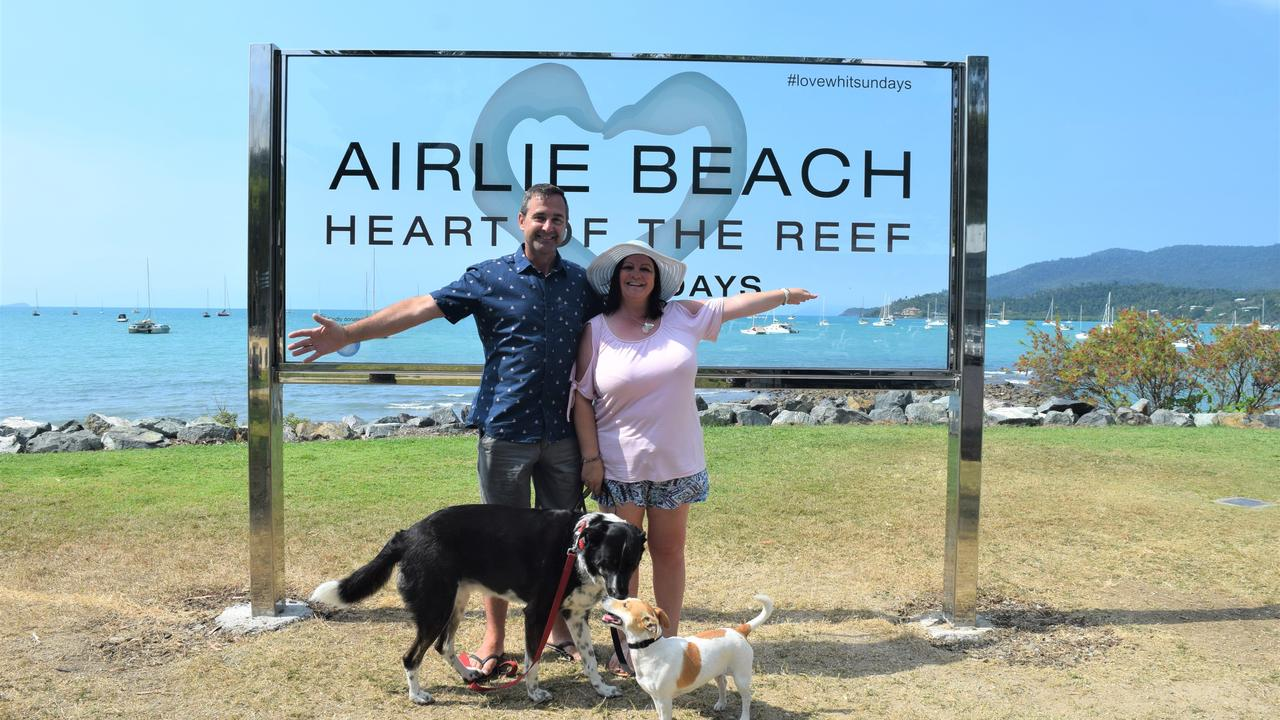 Allan and Susan Thompson from Brisbane holidaying in Airlie Beach, which was named the second most trending Queensland holiday destination. Picture: Laura Thomas