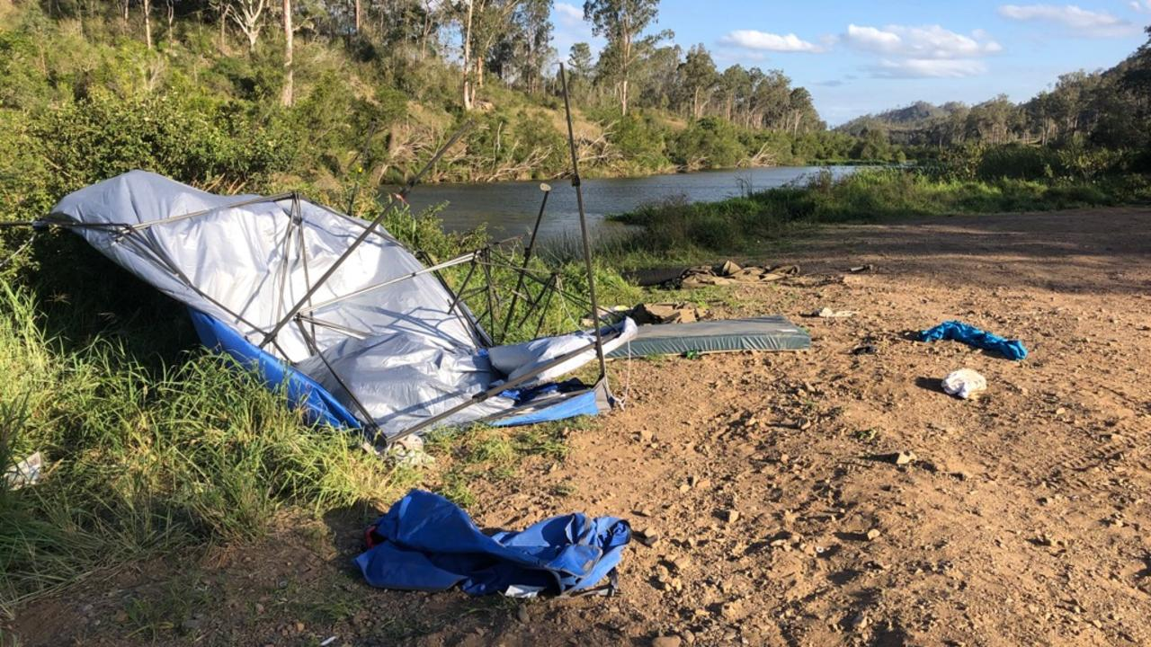 Rubbish dumped along Brisbane River in the Somerset region.