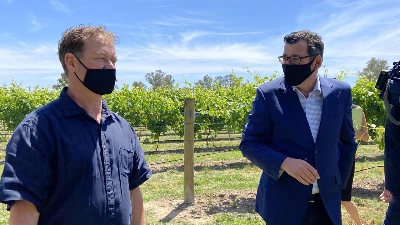 Premier Daniel Andrews is enjoying a wine tasting at Dal Zotto Wines ahead of announcing the $465 million Victorian Tourism Recovery Package. Picture: Madi Chwasta