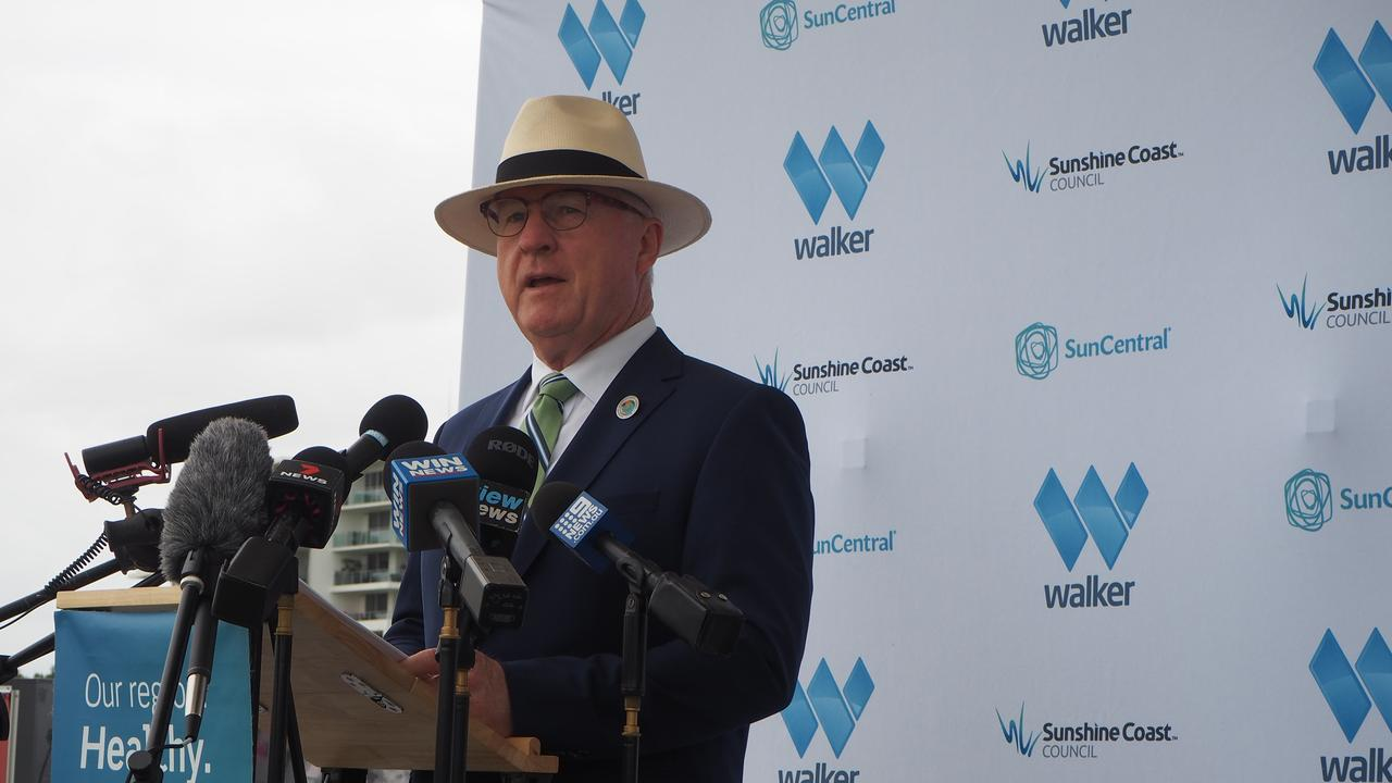 Mayor Mark Jamieson announces the new development agreement between Sunshine Coast Council, SunCentral Maroochydore Pty Ltd and Walker Corporation for the Maroochydore City Centre.