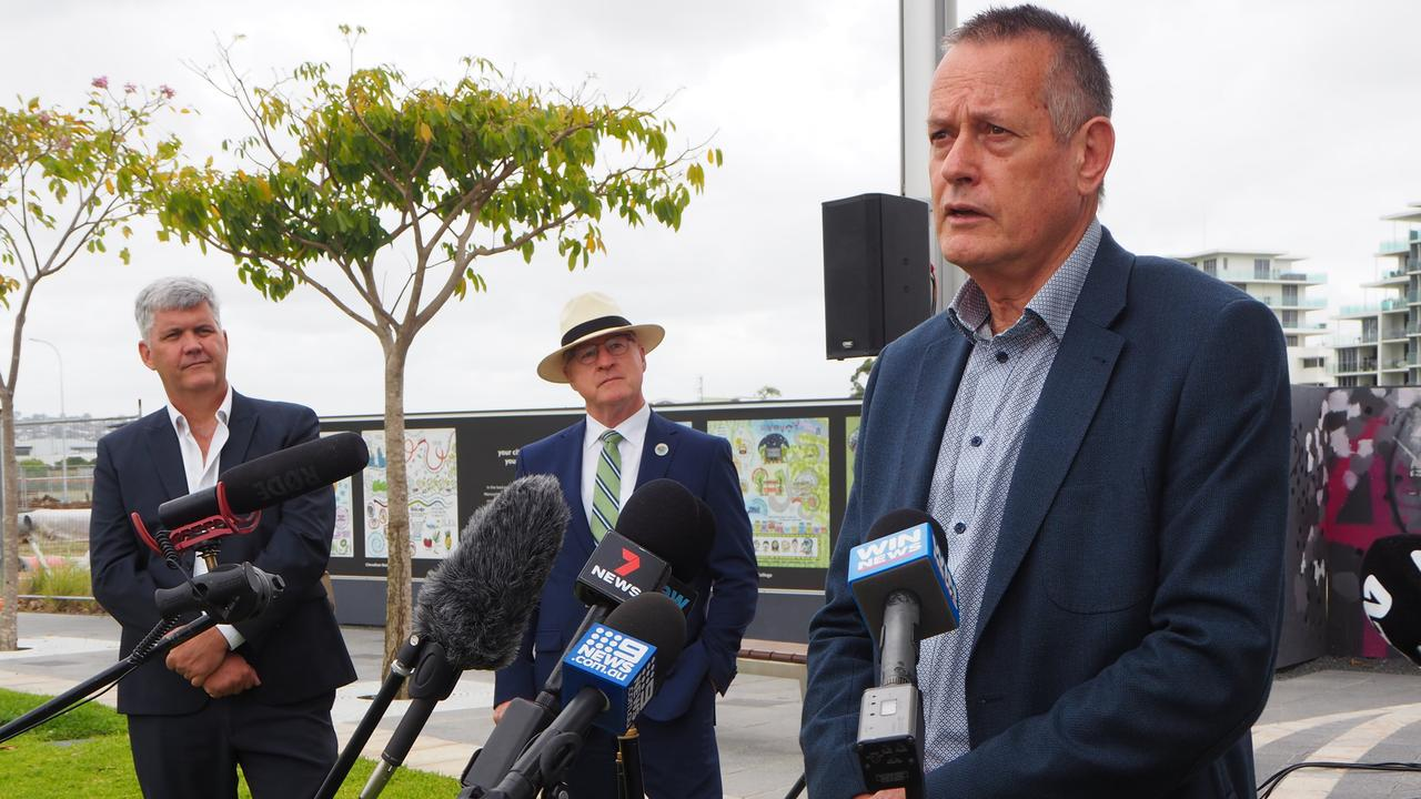 SunCentral CEO John Knaggs speaks at the Maroochydore city centre for the announcement of a development agreement between Sunshine Coast Council and Walker Corporation. Picture Tegan Annett