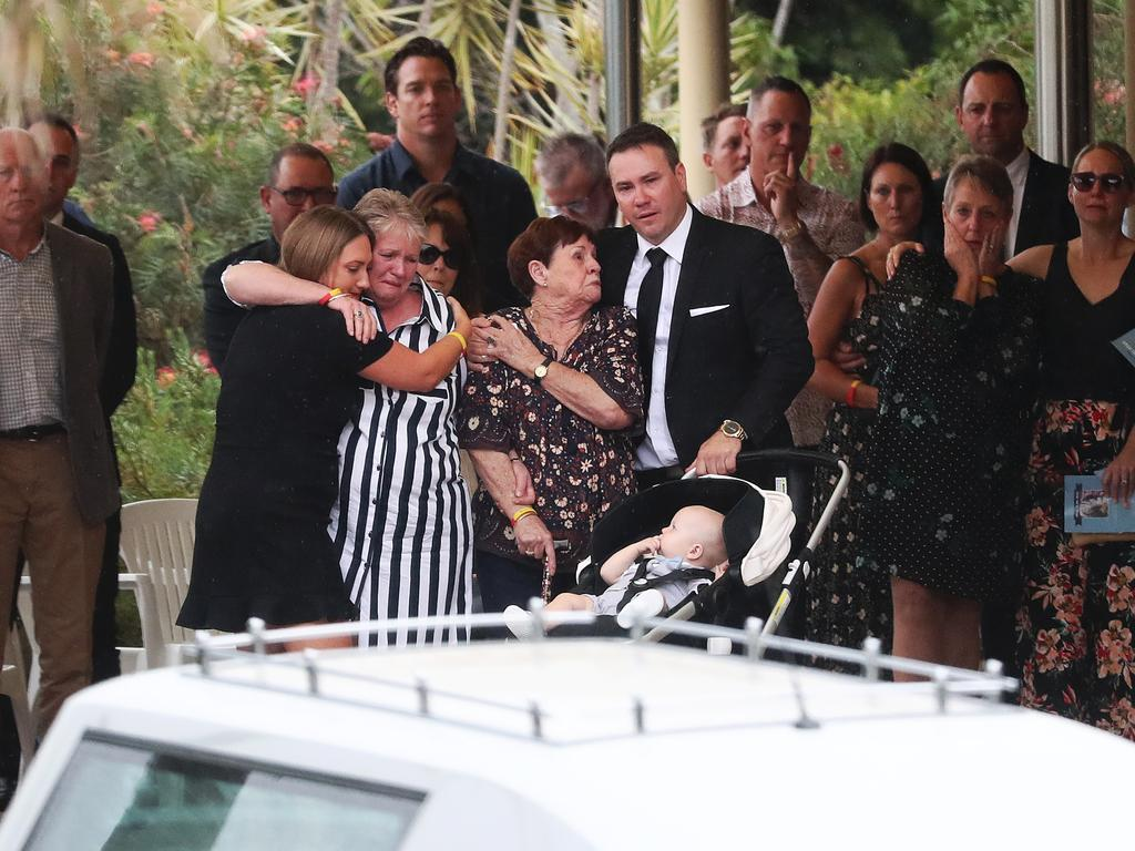 Family and friends celebrate the life of Bali bombing survivor Jake Ryan on the Gold Coast. Picture: Nigel Hallett