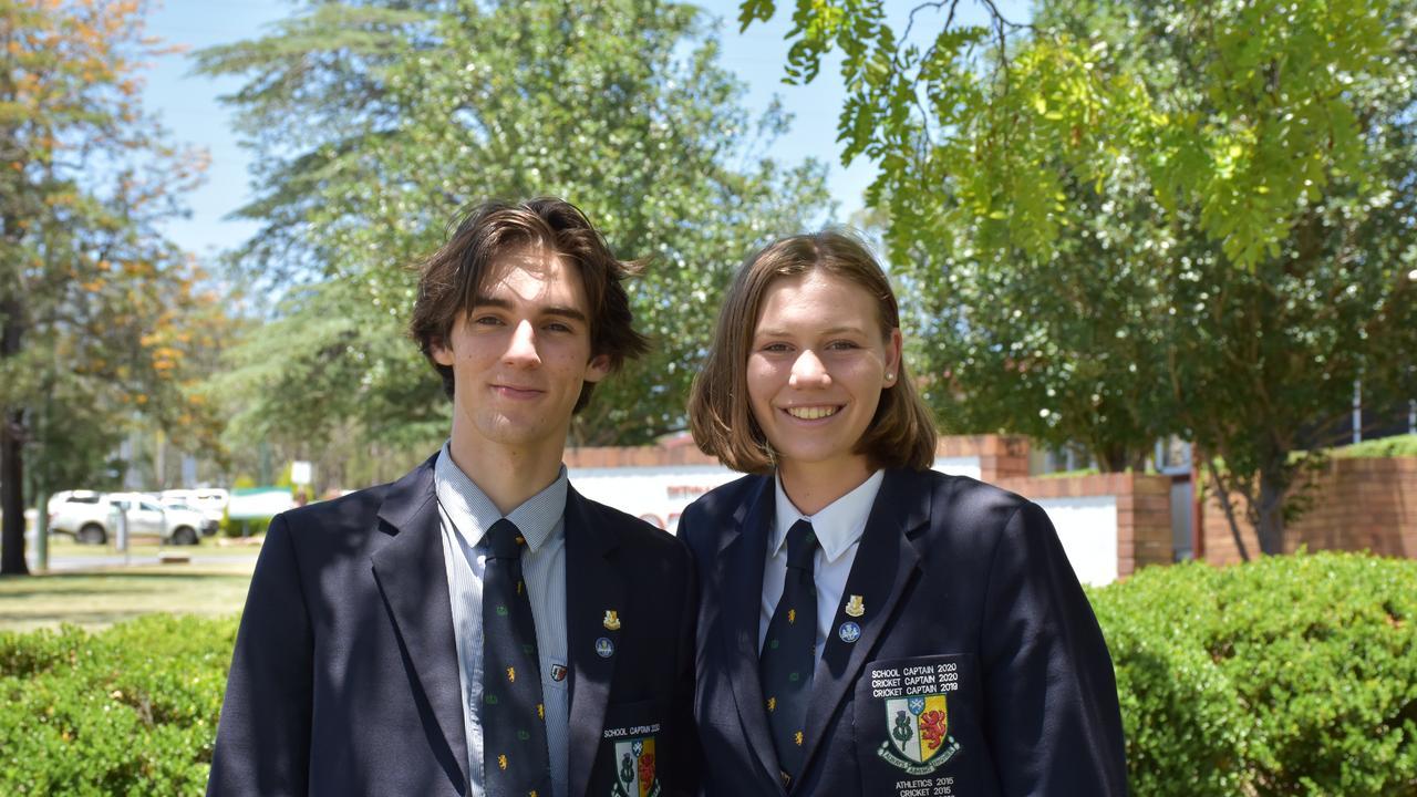 SCOTS PGC school captains Josh Bailey and Kira Holmes.