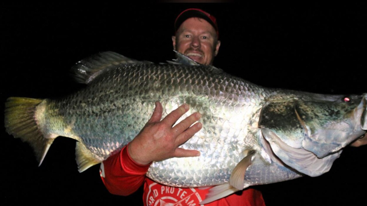Lake Callide Retreat had its barramundi size record broken on Monday night after Jason Ehrlich landed this monster 125cm fish.