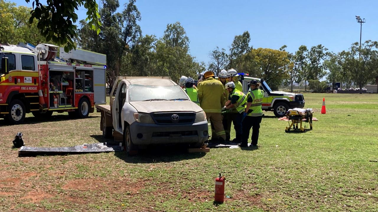 Moranbah police educated Year 12 students by taking part in a mock fatal traffic crash.