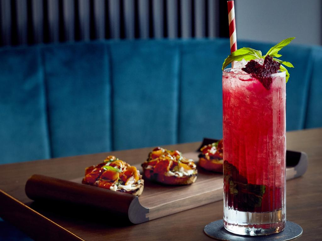 Beetroot mojito and bar snacks at Solander restaurant, West Hotel, Barangaroo, Sydney.