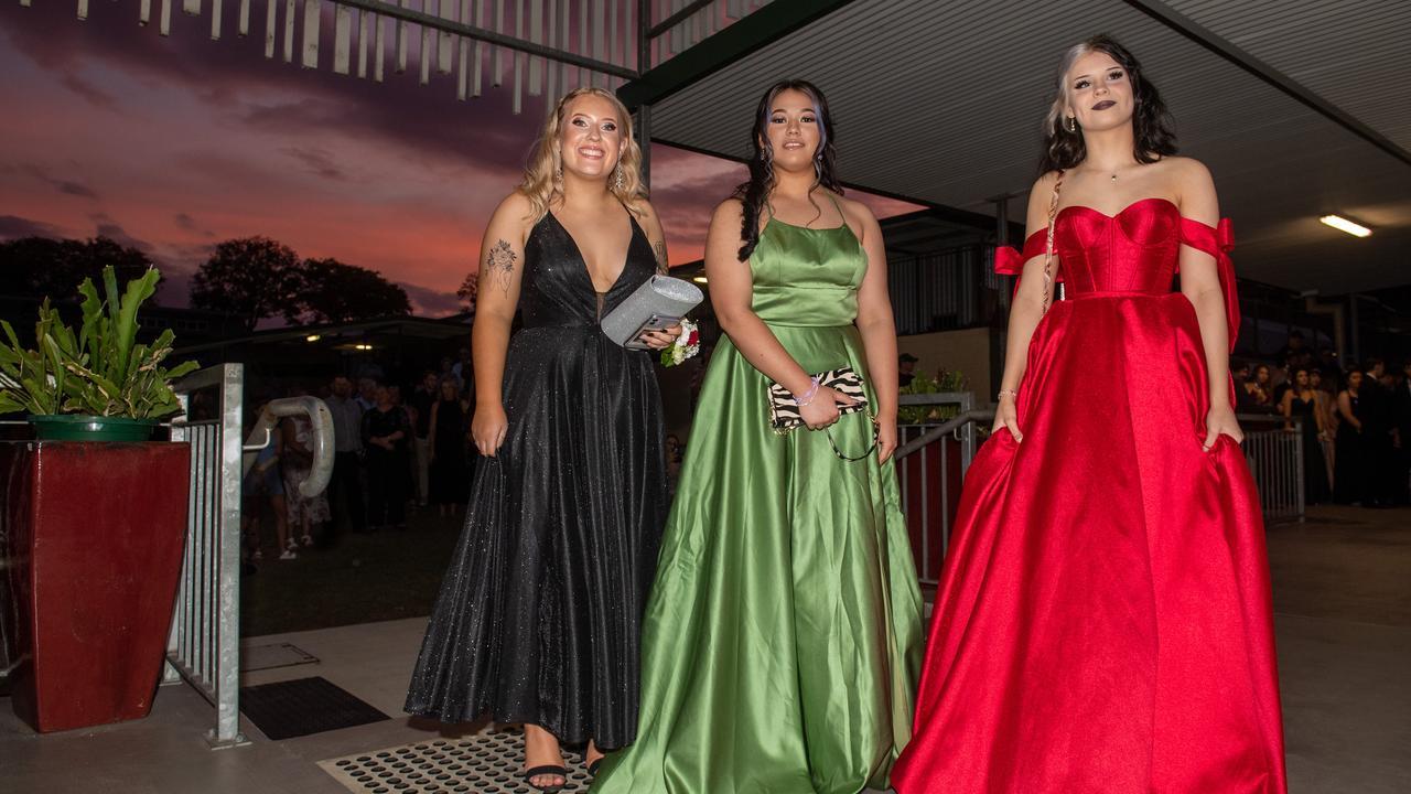Macy Fahey, Sophia Ryder and Aleesha Shaw, Lowood State High School Formal 2020. Photo: Ali Kuchel