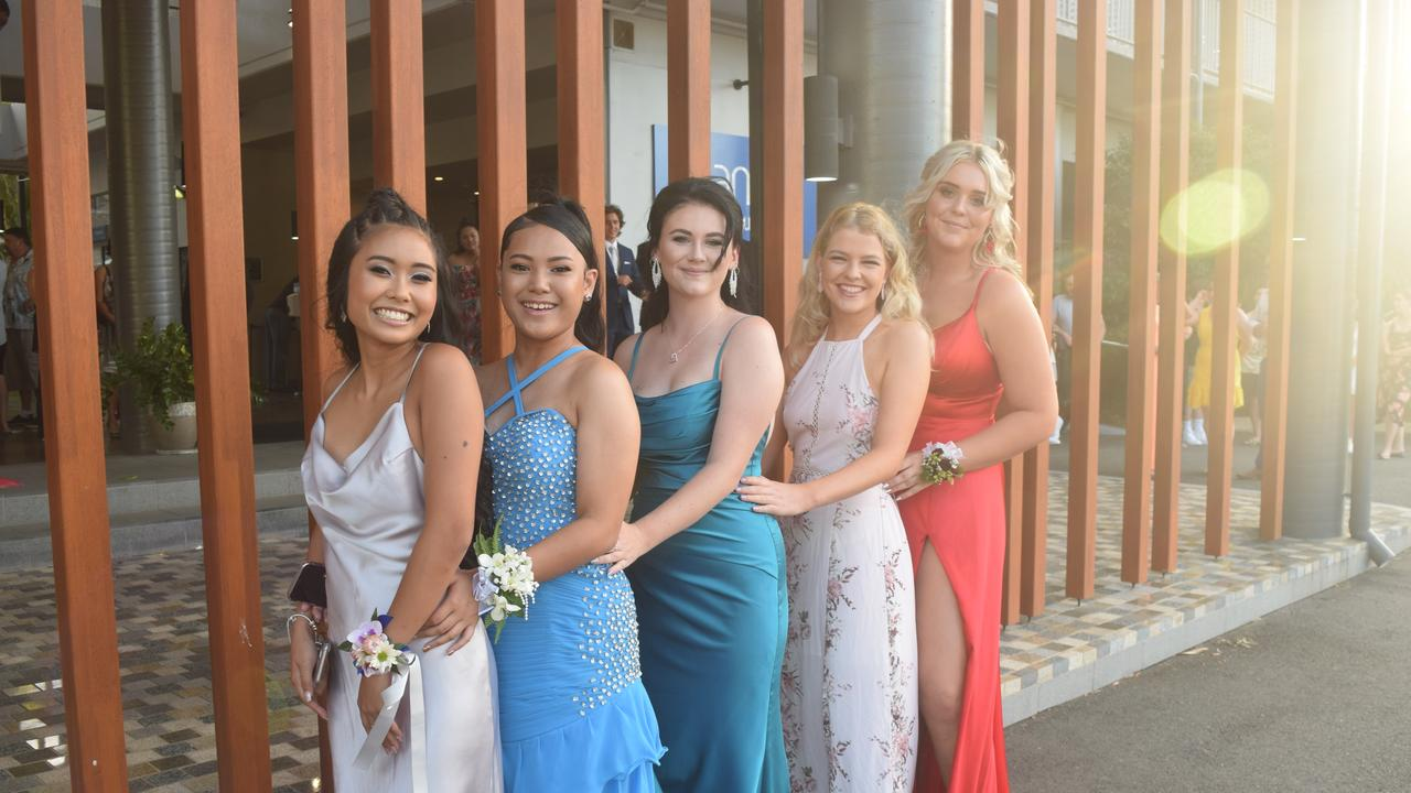 Emily Buenamente, Gwyneth Ramirez, Samantha Prince, Poppy Flood and Lily Doellinger at the Whitsunday Christian College Year 12 formal. Picture: Laura Thomas