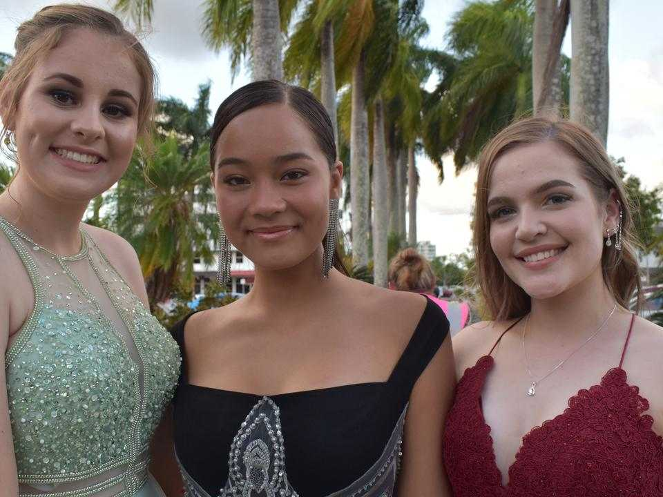 Sarah Quigley, Adela Cameron, and Jade Fleischer at the Sarina State High School formal at the MECC, Mackay, on Thursday November 19. Picture: Zizi Averill